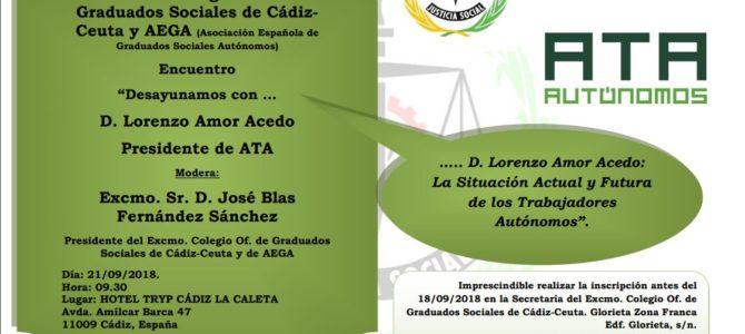 """El presidente de ATA, próximo invitado al ciclo """"Desayunamos con…"""" de los Graduados Sociales"""