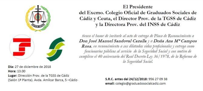 Jueves 27 en Cádiz: acto de entrega de placas de reconocimiento a funcionarios de la Seguridad Social