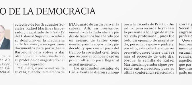 """Tribuna de nuestro presidente con motivo del 22 aniversario del asesinato de Rafael Martínez Emperador: """"El precio de la Democracia"""""""