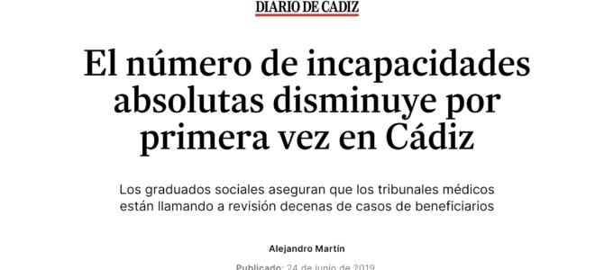 El número de incapacidades absolutas disminuye por primera vez en Cádiz